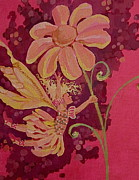 Flower Pink Fairy Child Drawings Metal Prints - Candy 2 Metal Print by Jackie Rock