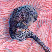 Gray Cat Paintings - Candy Cane by Kimberly Santini