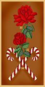 Candy Digital Art - Candy Cane Roses by Anne Norskog