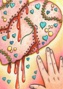 Passion Drawings Posters - Candy Colored Heartache Poster by Amy S Turner