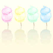 Yellow Green Blue Prints - Candy floss Print by Jane Rix
