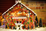 Gummy Candy Prints - Candy Gingerbread House Print by Marilyn Hunt