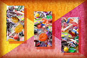 Ball Mixed Media Posters - Candy Is Dandy Triptych Poster by Andee Photography