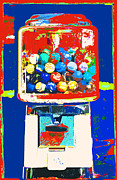 Juvenile Wall Decor Mixed Media Metal Prints - Candy Machine Pop Art Metal Print by ArtyZen Kids