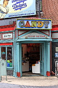 Entrance Door Prints - Candy Store Cartoon Print by Sophie Vigneault
