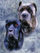Mastiff Dog Paintings - Cane Corsos by Jai Johnson