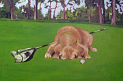 Caddy Paintings - Canine Caddy by Molly Wright