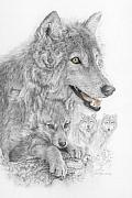 Grey Mixed Media Originals - Canis Lupus V The Grey Wolf of the Americas - The Recovery  by Steven Paul Carlson