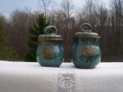 Pots Ceramics - Canister set blue by Monika Hood