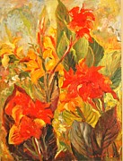 Red Canna Originals - Canna Lilies by Ingrid Dohm