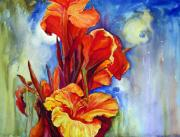 Canna Paintings - Canna Lilies by Priti Lathia