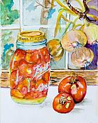 Tomatos Painting Metal Prints - Canning Jars Metal Print by Delilah  Smith