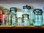 Gifts For A Cook Posters - Canning Jars on Shelf Poster by Susan Savad