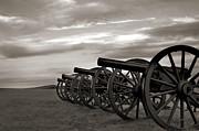 Cannon At Antietam Black And White Print by Judi Quelland