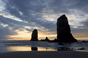 Beach Combing Framed Prints - Cannon Beach at Sunset 4 Framed Print by Bob Christopher