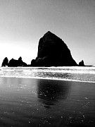 J Von Ryan Posters - Cannon Beach BnW Poster by J Von Ryan