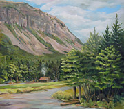 Mountain Climbing Paintings - Cannon Cliff New Hampshire by Nancy Griswold