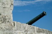 World Cities Posters - Cannon protruding from the ramparts of the Castillo Real de la Real Fuerza on Plaza de Armas Poster by Sami Sarkis