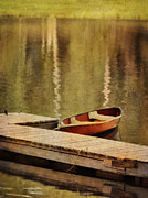 Canoe At Dock Print by Jill Battaglia