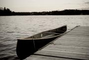 Wooden Dock Prints - Canoe At Dock, Lake Of The Woods Print by Keith Levit