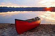 Northwoods Posters - Canoe at Sunset Poster by Geoff Strehlow