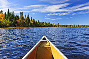 Pristine Posters - Canoe bow on lake Poster by Elena Elisseeva
