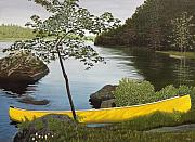 Canoes Paintings - Canoe on the Bay by Kenneth M  Kirsch