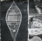 Canoe Drawings Posters - Canoe with three rivers Poster by Lee Davies