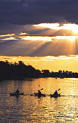 Sunrays Prints - Canoeing Print by Elena Elisseeva