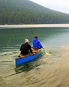 Canoeing Glacier Park Print by Marty Koch