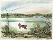 Waterscape Painting Prints - Canoeing On The Lake Print by Samuel Showman