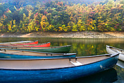 Large Leaves Prints - Canoes at Fontana Print by Debra and Dave Vanderlaan