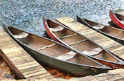 Docked Boat Painting Prints - Canoes At Lake Susan Print by Anne Kitzman