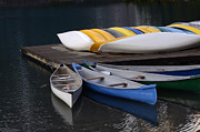 Canoes Art - Canoes Morraine Lake by Bob Christopher
