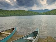 Green Canoe Prints - Canoes on Heart Lake Adirondack Park New York Print by Brendan Reals