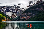 Canada Pyrography - Canoes on Lake Louise by Maurice Griffith