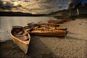 Beach Scenery Framed Prints - Canoes On The Shore, Keswick, Cumbria Framed Print by John Short