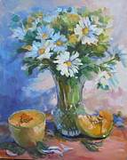 Cantaloupe Paintings - Cantaloupe And Daisies by Liz Maness