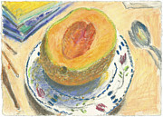 Fruit Still Life Pastels Framed Prints - Canteloupe Framed Print by Scott Bennett