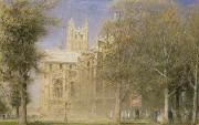 Crowds  Framed Prints - Canterbury Cathedral Framed Print by Albert Goodwin