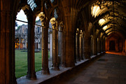 Diptych Photos - Canterbury Cathedral Cloister at Dusk by Lisa Knechtel