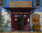 Street Scene Framed Prints - cantina Ala Framed Print by Guido Borelli