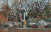 Plein Air Drawings Metal Prints - Canton Road Crossing Metal Print by Donald Maier