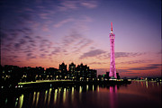 Romantic Sky Framed Prints - Canton Tv Tower In Sunset Glow Framed Print by Jimmy Tsang