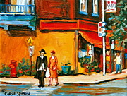 Montreal Streets Paintings - Cantors Bakery Montreal Memories Vintage City Scenes by Carole Spandau