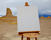 Creativity Desert Framed Prints - Canvas and Easel in Desert Framed Print by David Buffington