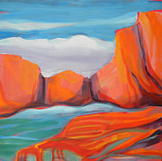 Desert Lake Painting Posters - Canyon Dreams 14 Poster by Pam Van Londen