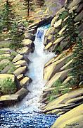 Rushing Water Paintings - Canyon Falls by Frank Wilson