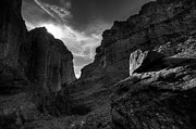 High Desert Photos - Canyon Light - Black and White by Peter Tellone