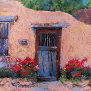 Adobe Building Pastels - Canyon Road by Julia Patterson